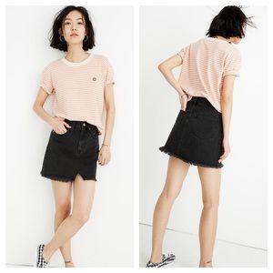 Madewell Size 16/33 NWT Raw Hem Black Denim Skirt